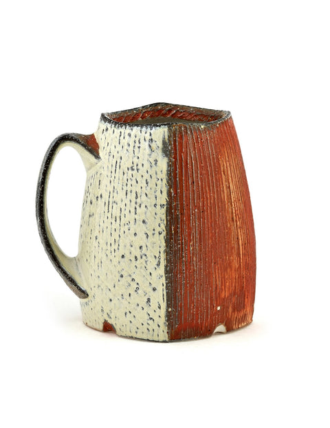 Handmade soda-fired coffee mug/stein by Bill Wilkey