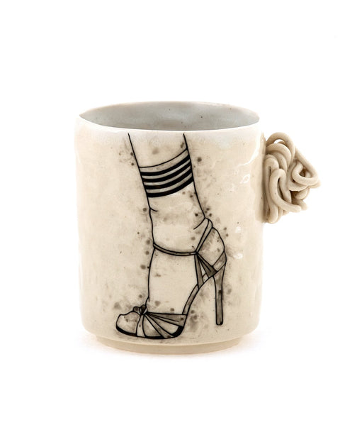 Handmade illustrated porcelain cup by Lauren Gallaspy