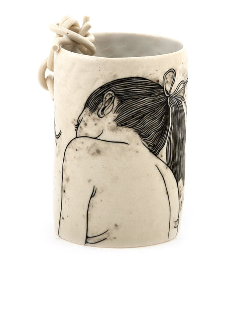 Handmade illustrated porcelain tumbler/cup by Lauren Gallaspy