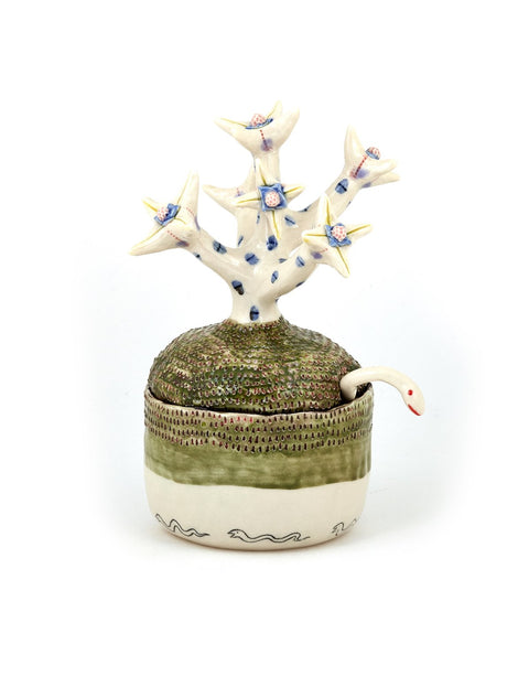 Handmade porcelain lidded sugar container with spoon by Momoko Usami