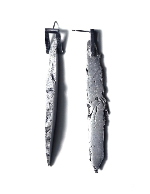 Avant-garde aluminum and sterling silver splice earrings, handmade by Lissy Selvius