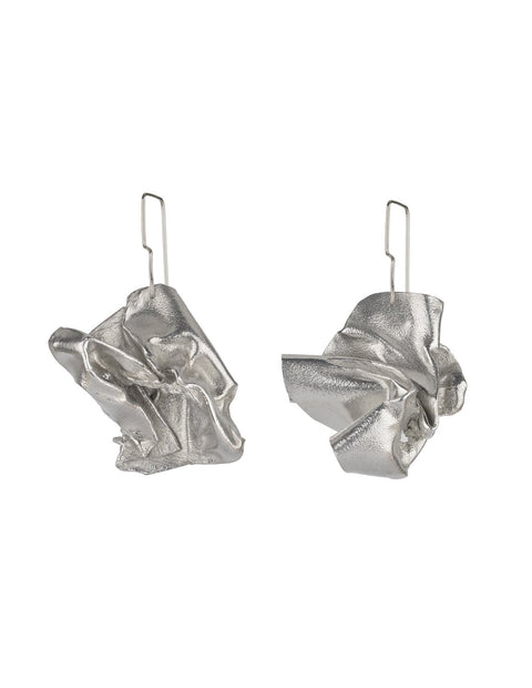 Avant-garde aluminum and sterling silver melt earrings, handmade by Lissy Selvius