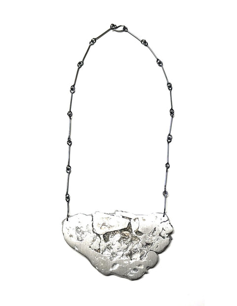 Avant-garde aluminum and sterling silver melt necklace, handmade by Lissy Selvius