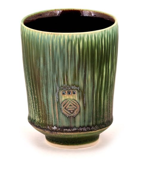 Handmade green-glazed porcelain yunomi/cup by Nick DeVries