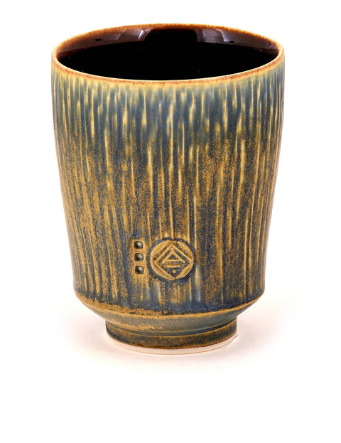 Handmade blue-glazed porcelain yunomi/cup by Nick DeVries