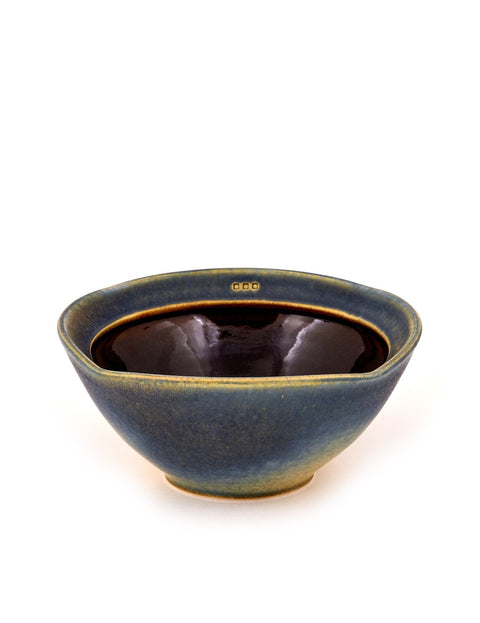 Handmade blue and yellow-glazed porcelain bowl by Nick DeVries