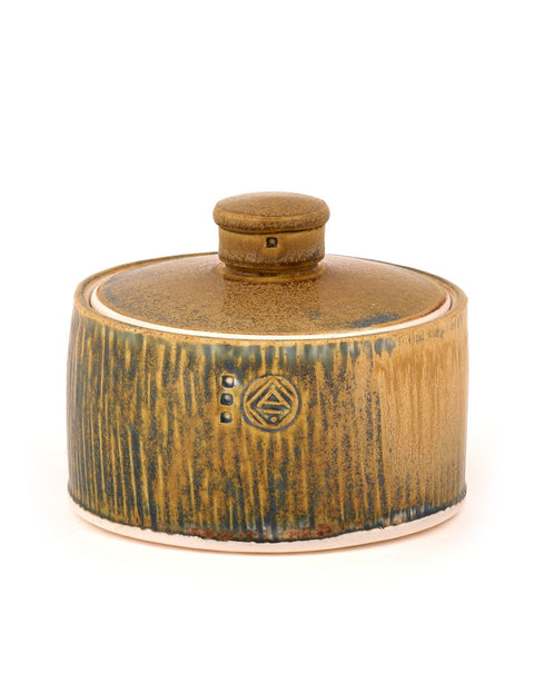 Handmade blue-glazed porcelain lidded jar by Nick DeVries