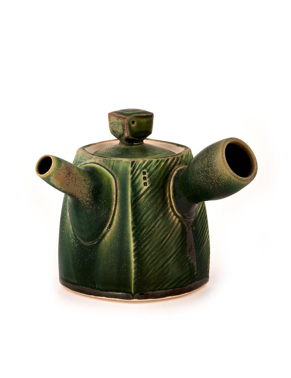 Handmade green-glazed porcelain teapot by Nick DeVries