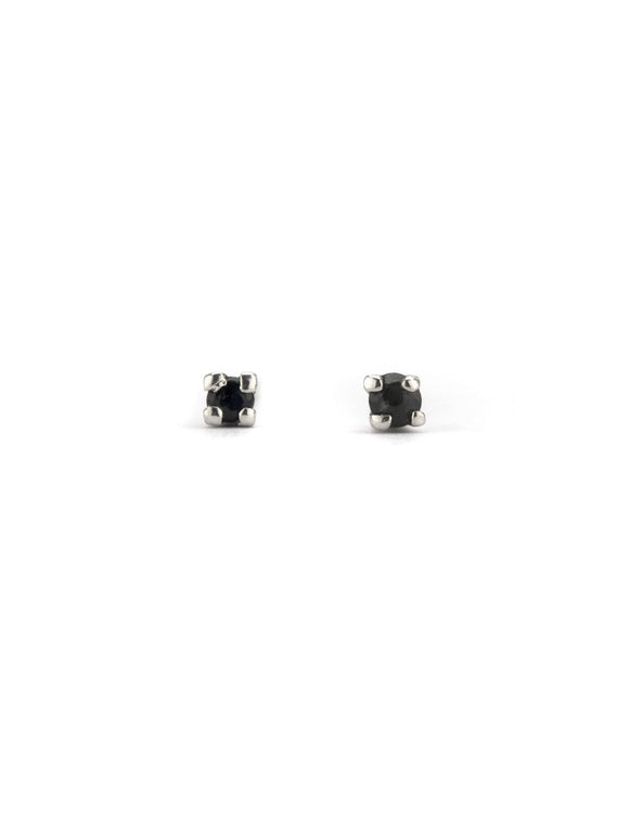 Sapphires set in sterling silver studs, handmade by Maura Lenahan.