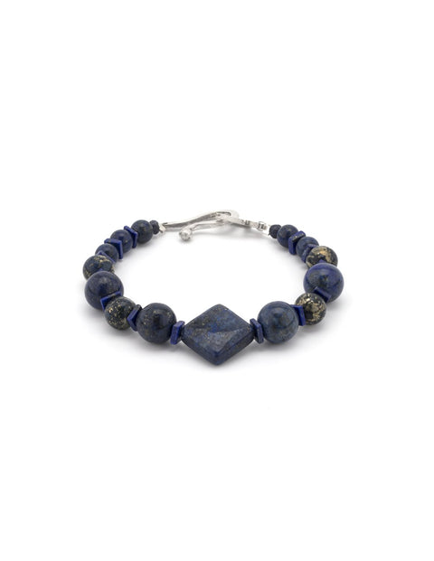 Beaded lapis lazuli with handmade sterling silver components, handmade by Maura Lenahan.