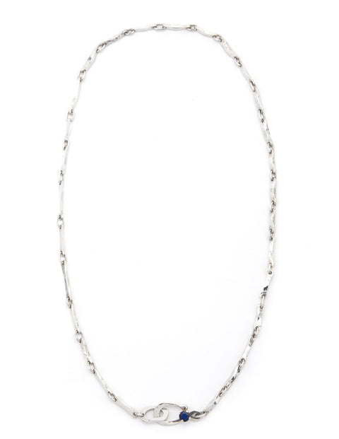 Hammered sterling silver bone link chain, handmade by Maura Lenahan.