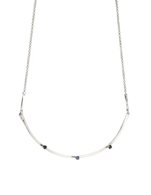 Elegant sterling silver, sapphire and spinel necklace, handmade by Maura Lenahan.