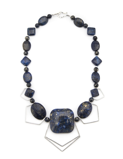 Elegant, one-of-a-kind lapis lazuli and sterling silver necklace, handmade by Maura Lenahan.