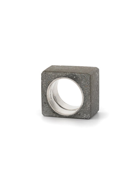 Industrial and chunky statement ring in concrete and sterling silver, handmade by Mike Ruta.
