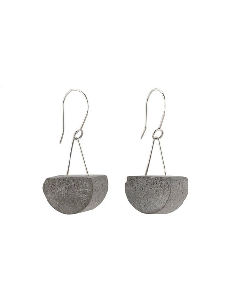 Industrial and unique half circle earrings in concrete and sterling silver
