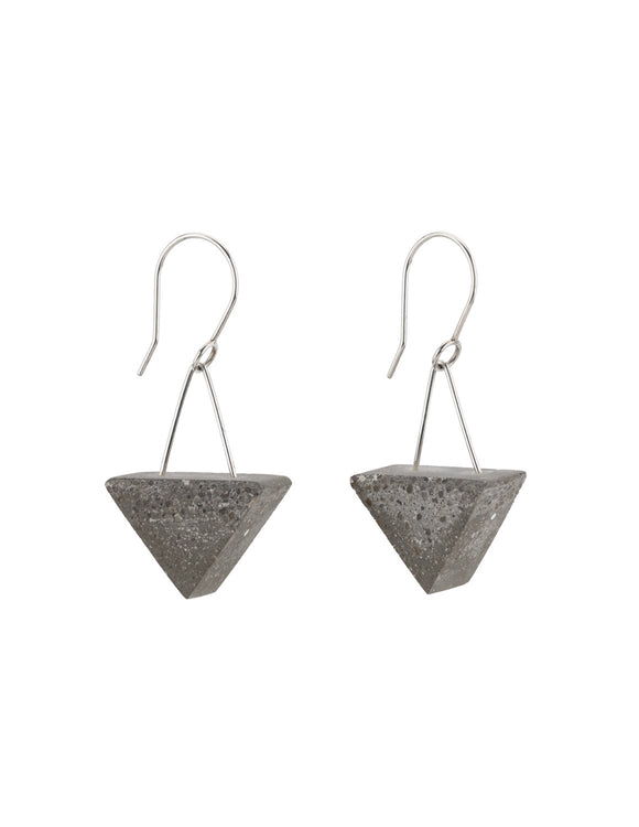 Statement earrings in concrete and sterling silver, handmade by Michael Ruta.
