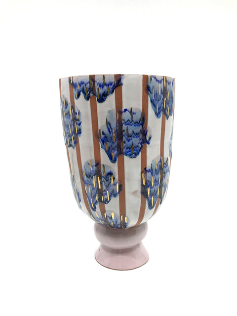 Handmade decorated vase by Margaret Haden