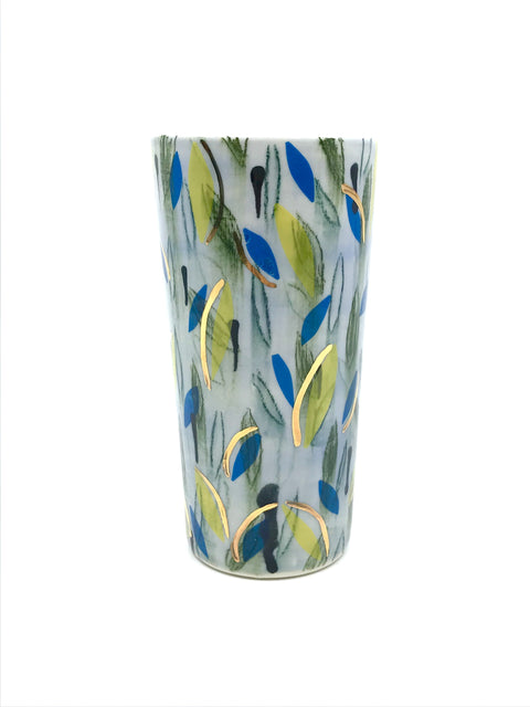 Handmade decorated cup/tumbler by Margaret Haden