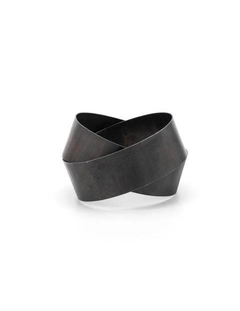 Chunky steel statement bangle, handmade by Susanne Henry.