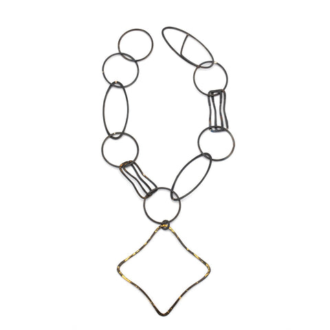 Geomteric, statement chain necklace, handmade by Susanne Henry.