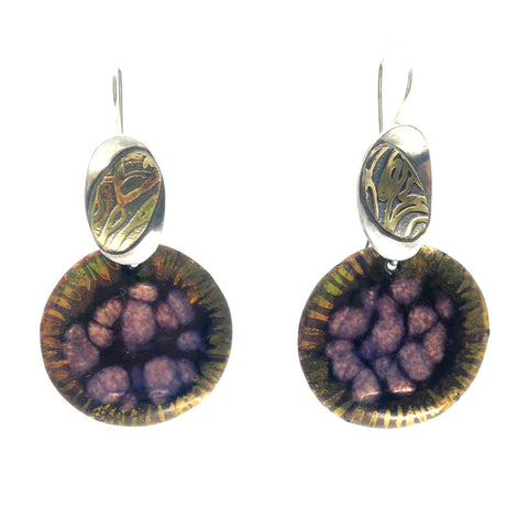 Purple Cut Gem Opal Drop Earrings