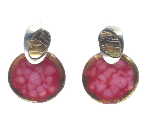 Pink Cut Gem Post Earrings
