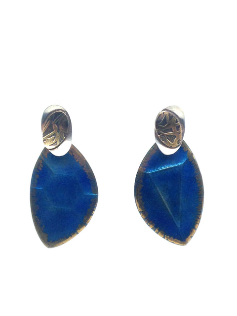 Nitric Blue Cut Gem Post Earrings