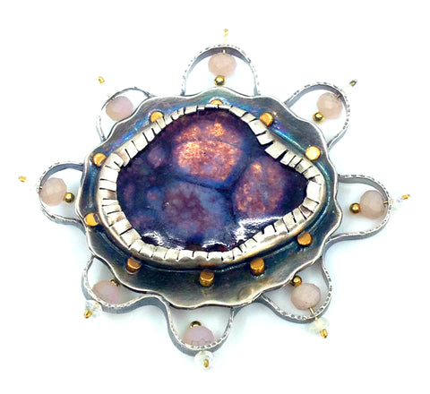 Purple Cut Gem Opal Brooch