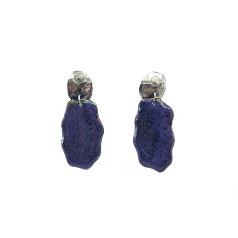 Purple Opal Earrings with Purple Back
