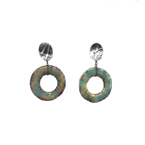 Nile Blue Hoop Drops Earrings