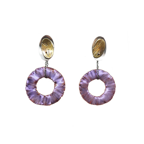 Red and Purple Hoop Drops Earrings