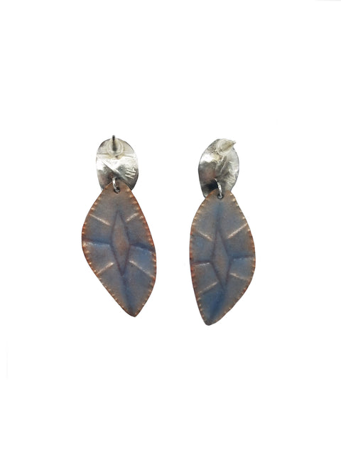 Elan Gray and Winter Blue Cut Gem Earrings
