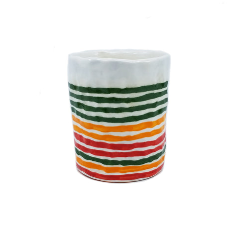 Green, Orange, and Red Stripe Cup