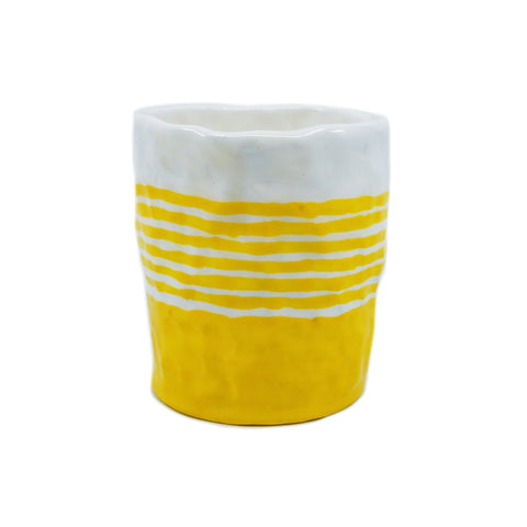 Yellow and White Stripe Cup