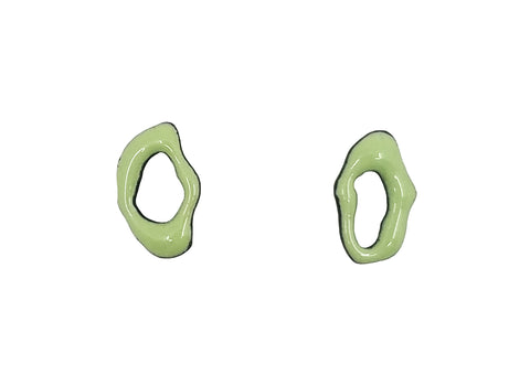 Light Green Small Enamel Post Earrings