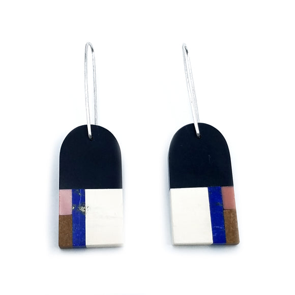 Four Color Mosaic Earrings