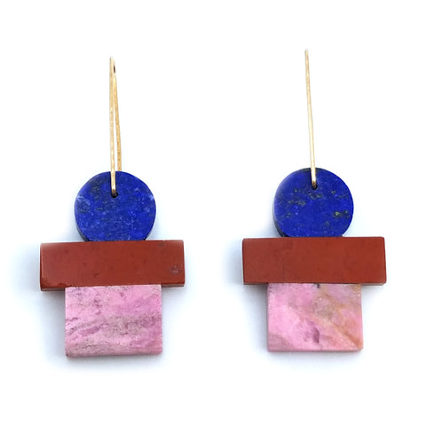 Lapis/Red Jasper/Rhodonite Earrings