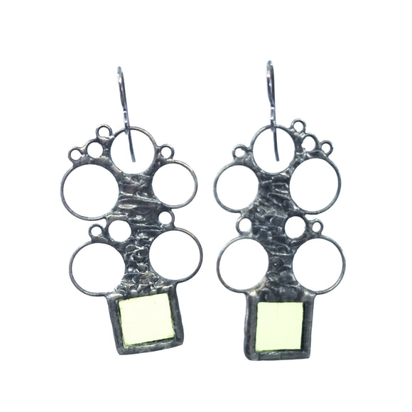 Bubble Top Earrings - Green Square
