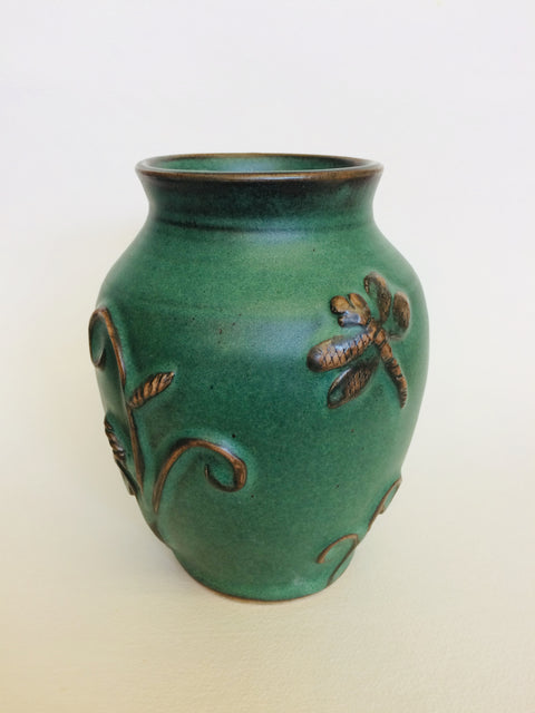 Green Vase w/ Flowers & Butterflies