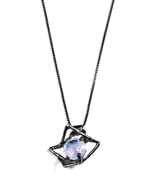 Geometric flower pendant necklace with lavender moonstone in sterling silver handmade by Aimee Petkus