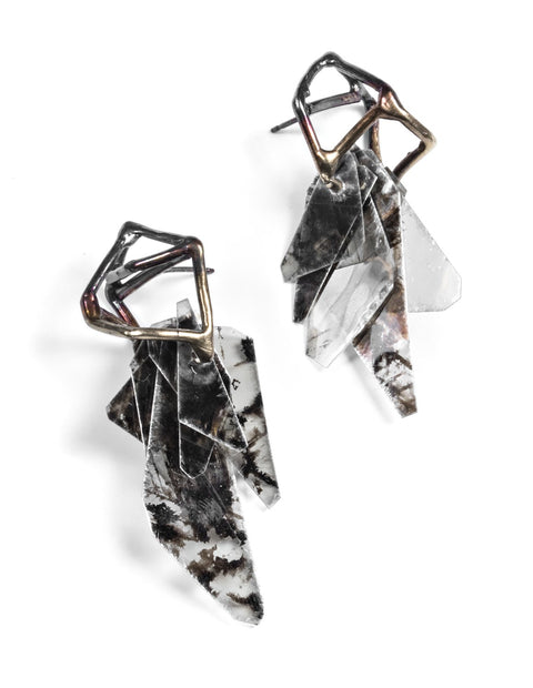 Oxidized sterling silver dangle earrings with feathered mica stones handmade by Aimee Petkus.
