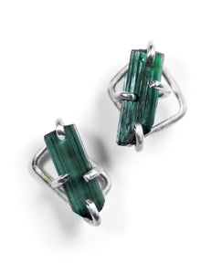 Green tourmaline crystal studs in sterling silver setting handmade by Aimee Petkus.