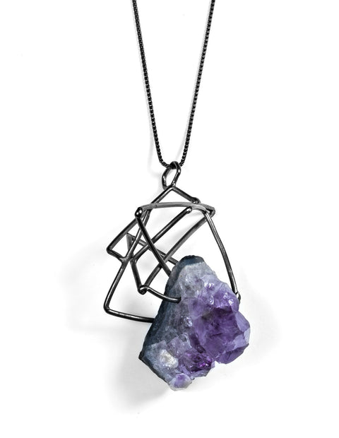 Large sterling silver geometric knot pendant with amethyst crystal handmade by Aimee Petkus