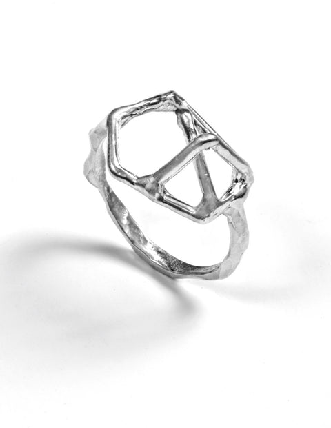Sterling silver geometric ring handmade by Aimee Petkus.