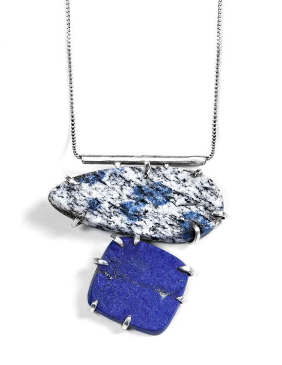 Large sterling silver pendant necklace with k2 and lapis stones handmade by artist Aimee Petkus.