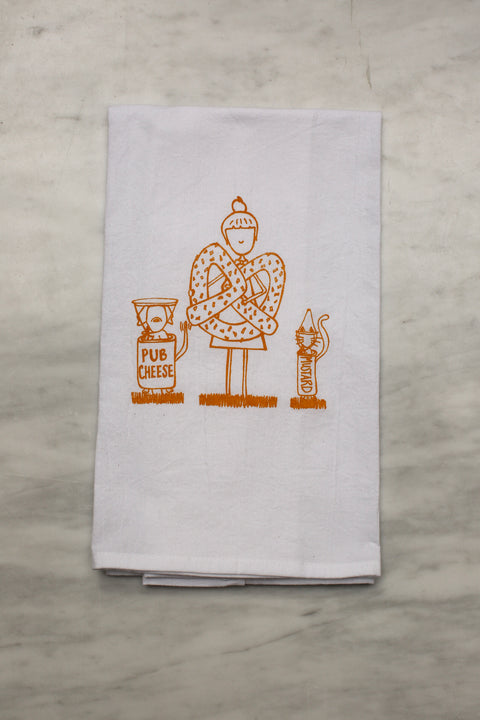 Pretzel Girl and Friends Tea Towel