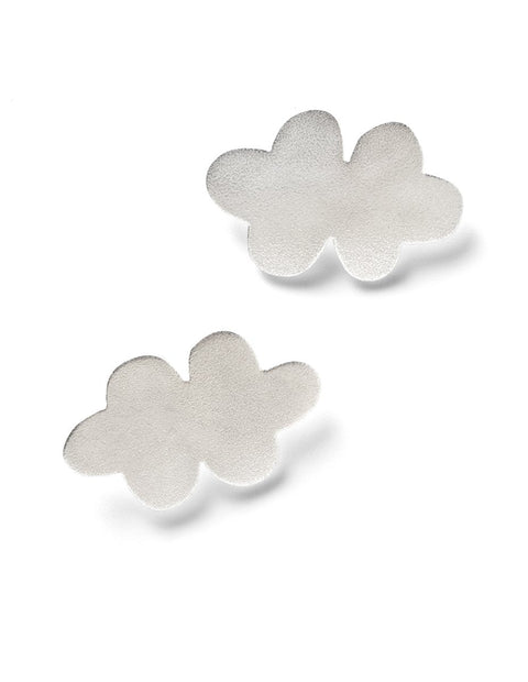 Sterling silver cloud post earrings handmade by AurŽlie Guillaume.