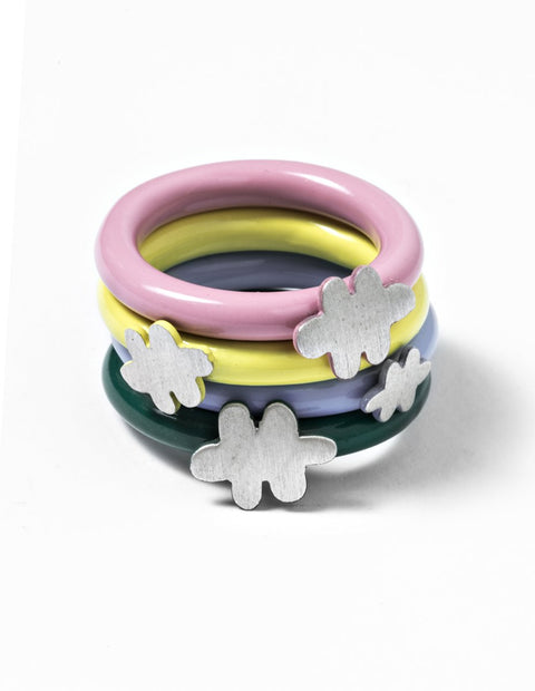 Set of four enamel stacked rings with sterling silver clouds handmade by AurŽlie Guillaume.