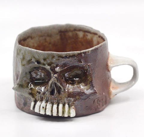 Skull Mug with Porcelain Teeth and Handle