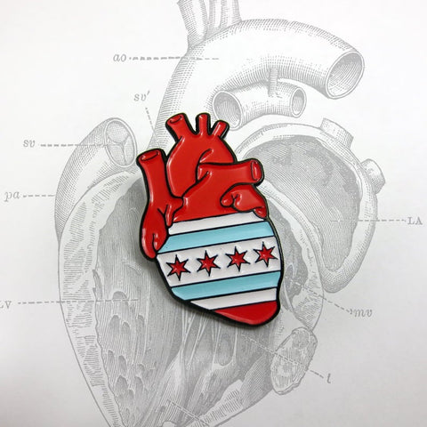 Chicago Flag Anatomical Heart Pin